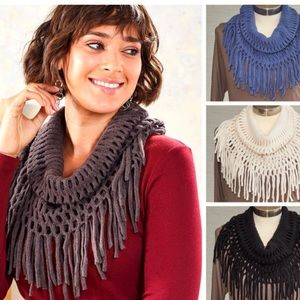 NWT! Charcoal Grey Open Weave Fringe Scarf